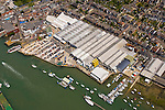 Aerial, Harbour, Yacht haven, GKN Factory, Ferry Terminal, Town, Cowes, Isle of wight, England,UK, Photographs of the Isle of Wight by photographer Patrick Eden