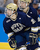 Stephen Johns (Notre Dame - 28), Anders Lee (Notre Dame - 9) - The University of Notre Dame Fighting Irish defeated the Merrimack College Warriors 4-3 in overtime in their NCAA Northeast Regional Semi-Final on Saturday, March 26, 2011, at Verizon Wireless Arena in Manchester, New Hampshire.