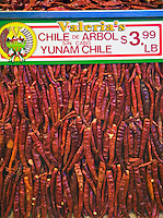 Chile de Arbol,sin cabo, Yunam Chile, Grand Central, Public Market, Produce, Los Angeles CA, Farm-fresh produce fresh fruits, vegetables, meats, poultry and fresh fish from California and around the world