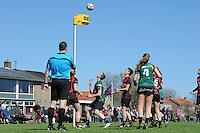 KORFBAL: REDUZUM: Sportpark Reduzum, 28-04-2013, Veld Hoofdklasse A, KV Mid Fryslân-LDODK AH Gorredijk, Eindstand 13-19, Sjieuwke v.d. Veen (#2 | MF), André Zwart (#15 | LDODK), Sjoerd Pool (#17 | MF), Jildou Slagmann (#4 | LDODK), ©foto Martin de Jong