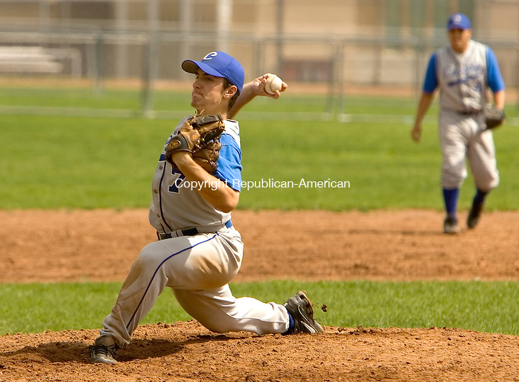 NAUGATUCK, CT- 10 MAY 2008 --051008JS05-Crosby Ray Wood (7), delivers a pitch during their 3-2 victory over Naugatuck Saturday at Naugatuck High School. <br /> Jim Shannon / Republican-American