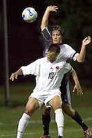 BC's Charlie Davies eyes a header. Boston College vs Brown at the Newton Campus on October 3, 2006