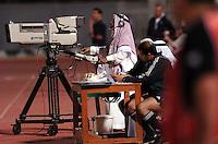 Pix: Simon Wilkinson/SWpix.com. 1st Islamic Solidarity Games 2005. The Kingdom of Saudi Arabia. Jeddah, Madina, Mecca and Taif. Football, Prince Abdullah Alfaisal Bin Adulaziz stadium..copyright picture>>simon Wilkinson>>07811 267 706>>..A camera crew at the football