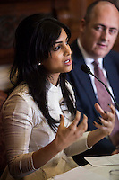 (L-R) Pallavi Sharda (OzFest ambassador) speaks as Dr. Lachlan Strahan (Australian Deputy High Commissioner to India) listens during a press conference on Oz Fest in Raj Mahal Palace hotel, Jaipur, India on 10th January 2013. Photo by Suzanne Lee/DFAT