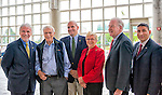"Oct 4, 2012 - GARDEN CITY, NEW YORK U.S. - (L to R) ANDREW PARTON, Executive Director of Cradle of Aviation Museum; Mercury astronaut SCOTT CARPENTER; MARTIN ST. GEORGE of JetBlue; Rep. CAROLYN MCCARTHY; NY State Senator KEMP HANNON, and other guests are at the entrance to the new JetBlue Sky Theater Planetarium at Cradle of Aviation Museum. Along with Nassau County students, they then watched ""We Are Astronomers"" a digital planetarium show. The planetarium, a state-of-the-art digital projection system, officially opens this weekend."
