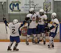 Austin Tonkovich #81 of Canon-McMillan celebrates with his teammates including Zachary Swink #2, Brandon Freeman #89, and Zachary Mckown #49 after scoring a goal against Norwin during their quarterfinal game at Southepointe Iceoplex on March 16, 2012 in Canonsburg, PA...(Jared Wickerham/For The Tribune-Review).JW Norwin-CMhockey317.jpg.