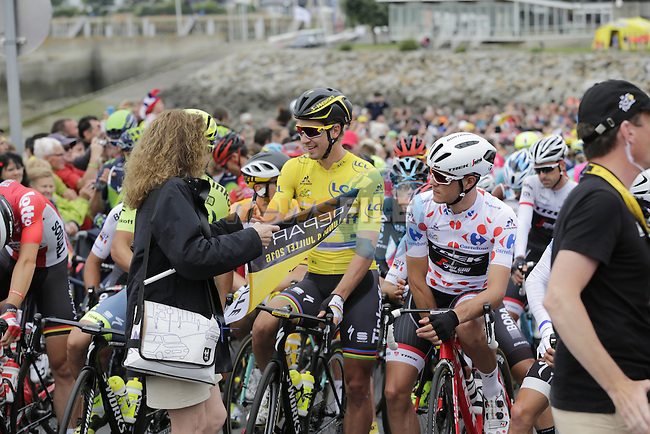 The peloton including Polka Dot Jersey wearer Jasper Stuyven (BEL) Trek Segafredo and race leader Yellow Jersey Peter Sagan (SVK) Tinkoff lined up for the start of Stage 3 of the 2016 Tour de France, running 223.5km from Granville to Angers, France . 4th July 2016.<br /> Picture: Eoin Clarke   Newsfile<br /> <br /> <br /> All photos usage must carry mandatory copyright credit (&copy; Newsfile   Eoin Clarke)