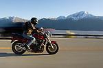 Justin Matley on his Suzuki motorcycle September 25, 2015 Turnagain Arm