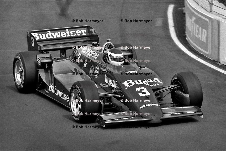 EAST RUTHERFORD, NJ - JUNE 30: Bobby Rahal drives the Budweiser March 85C/Cosworth during the Meadowlands U.S. Grand Prix CART IndyCar race at the Meadowlands Sports Complex in East Rutherford, New Jersey, on June 30, 1985.