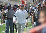 Ole Miss head coach Houston Nutt walks across the field to shake Georgia Coach Mark Richt's hand at Vaught-Hemingway Stadium in Oxford, Miss. on Saturday, September 24, 2011. Georgia won 27-13.