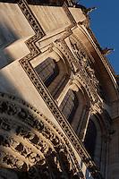 Archivolts, central portal, trumeau, clerestories, rose window, gargoyles, facade, Church of Notre Dame, 12th - 14th century, Mantes-la-Jolie, Yvelines, France Picture by Manuel Cohen