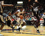 Ole Miss' Jarvis Summers(32) has his shot blocked by Mississippi State's Renardo Sidney (1) at the C.M. &quot;Tad&quot; Smith Coliseum in Oxford, Miss. on Wednesday, January 18, 2012. (AP Photo/Oxford Eagle, Bruce Newman).