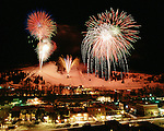 The 2002 Olympic send off fireworks celebration at Howelsen Hill in Steamboat Springs, Colorado.