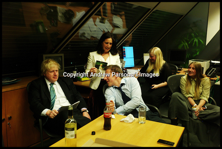 London Mayor Boris Johnson with his family in his office in City Hall, waiting for the results of the London Mayor Elections, May 4, 2012 . Photo by Andrew Parsons/i-Images.All Rights Reserved ©Andrew Parsons/i-images.See Instructions