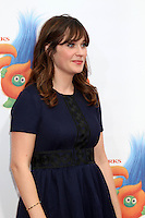 WESTWOOD, CA - OCTOBER 23: Zooey Deschanel at the premiere Of 20th Century Fox's 'Trolls' at Regency Village Theatre on October 23, 2016 in Westwood, California. Credit: David Edwards/MediaPunch