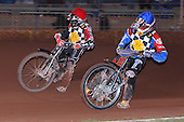 Heat 8: Hackney pair Ben Morley (red) and Shane Hazelden - Hackney Hawks vs Team America - Speedway Challenge Meeting at Rye House - 09/04/11 - MANDATORY CREDIT: Gavin Ellis/TGSPHOTO - Self billing applies where appropriate - Tel: 0845 094 6026