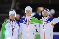 SHORTTRACK: AMSTERDAM: 05-01-2014, Jaap Edenbaan, NK Shorttrack, podium 500 meter, Sjinkie Knegt, Freek van der Wart, Niels Kerstholt, ©foto Martin de Jong