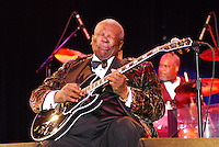 B B King at silverstar casino sat sept 20,2008. ALL IMAGES ©SUZI ALTMAN. IMAGES ARE NOT PUBLIC DOMAIN. CALL OR EMAIL FOR LICENSE, USE, OR TO PURCHASE PRINTS 601-668-9611 OR EMAIL SUZISNAPS@AOL.COM(Photo/Suzi Altman)Legendary Mississippi Bluesman B.B. King plays his new Gibson Guitar with his 83 Birthday inscribed on the top of it to a home state crowd gathered at SilverStar Casino in Philadelphia, MS. Sat. Sept. 20,2008. King turned 83 on Sept. 16 and the B B King Museum & Delta Interpretive Center just opened his museum last weekend in Indianola,MS.  and was gifted the new Lucille during opening weekend ceremonies. (Photo © Suzi Altman)