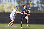 DURHAM, NC - FEBRUARY 26: Notre Dame's Makenna Pearsall (19) and Duke's Hayley Shaffer (28). The Duke University Blue Devils hosted the University of Notre Dame Fighting Irish on February, 26, 2017, at Koskinen Stadium in Durham, NC in a Division I College Women's Lacrosse match. Notre Dame won the game 12-11.