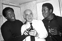 "Oakland Athletics celebration: Vida Blue, owner Charlie Finley and John ""Blue Moon"" Odom on the plane returning from Cincinnati after the A's had just won the 1972 World Series. (photo by Ron Riesterer)"