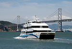 Ferry with San Francisco Bay Bridge in background