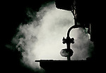 Conceptual image of smoke inside the factory. Dark and scary place.
