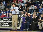 21 January 2008: King Holiday Hoopfest, Seattle WA.. Bellarmine Prep Head Coach Bernie Salazar signals to his players during their 80-75 loss  against Kentwood at the UW Bank of America Arena