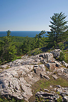 Rocky cliffs and Lake Superior at the Mount Marquette overlook in Marquette Michigan.