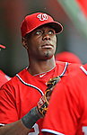 2 September 2012: Washington Nationals' outfielder Roger Bernadina prepares to face the visiting St. Louis Cardinals at Nationals Park in Washington, DC. The Nationals edged out the Cardinals 4-3, capping their 4-game series with three wins. Mandatory Credit: Ed Wolfstein Photo