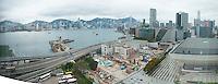 Panorama of the view from Joe and Karen's hotel room Hong Kong, China