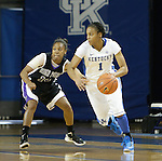 Senior guard A'dia Mathies attacks the High Point defense at the Women's Basketball game at Memorial Coliseum in Lexington, Ky., on Saturday, November. 17, 2012..