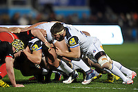 Guy Mercer of Bath Rugby in action at a scrum. Aviva Premiership match, between Saracens and Bath Rugby on January 30, 2016 at Allianz Park in London, England. Photo by: Patrick Khachfe / Onside Images