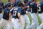 Ole Miss' Alex Yarbrough (2) is congratulated by teammates following his game winning RBI single in the 10th inning vs. Wright State at Oxford University Stadium in Oxford, Miss. on Saturday, February 19, 2011.