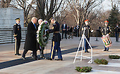 President-elect of The United States Donald J. Trump and Vice President-elect of The United States Mike Pence participate in a wreath laying ceremony at Arlington National Cemetery in Arlington, VA, January 19, 2017. <br /> Credit: Chris Kleponis / Pool via CNP