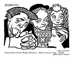 (Night of the Hunter) Preacher Harry Powell - Robert Mitchum; Rachel - Lillian Gish; A Doll; John - Billy Chapin