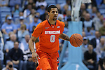 26 January 2015: Syracuse's Michael Gbinije. The University of North Carolina Tar Heels played the Syracuse University Orange in an NCAA Division I Men's basketball game at the Dean E. Smith Center in Chapel Hill, North Carolina. UNC won the game 93-83.