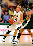 5 December 2009: University of Vermont Catamount guard May Kotsopoulos, a Senior from Waterloo, Ontario, in action against the Manhattan College Jaspers at Patrick Gymnasium in Burlington, Vermont. The Catamounts defeated the visiting Jaspers 78-59 to mark the Lady Cats' second home win of the season. Mandatory Credit: Ed Wolfstein Photo