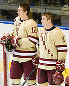 Kevin Hayes (BC - 12), Pat Mullane (BC - 11) - The Boston College Eagles defeated the Air Force Academy Falcons 2-0 in their NCAA Northeast Regional semi-final matchup on Saturday, March 24, 2012, at the DCU Center in Worcester, Massachusetts.