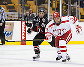 Robbie Vrolyk (NU - 91), Ben Rosen (BU - 8) - The Northeastern University Huskies defeated the Boston University Terriers 3-2 in the opening round of the 2013 Beanpot tournament on Monday, February 4, 2013, at TD Garden in Boston, Massachusetts.