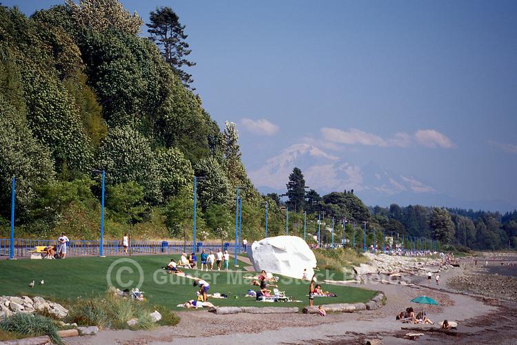 White Rock, BC, British Columbia, Canada - Seaside Promenade Walkway along Beach at Semiahmoo Bay - Mount Baker, Washington, USA beyond, Summer