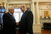 Prime Minister Benjamin Netanyahu of Israel, right, greets President  Mahmoud Abbas of the Palestinian Authority in the Monroe Room of the State Department in Washington, Thursday, September 2, 2010, moments before their direct talks aimed at peace in the Middle East.    .Credit: Jason Reed / Pool via CNP