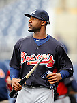 2 April 2011: Atlanta Braves right fielder Jason Heyward awaits his turn in the batting cage prior to a game against the Washington Nationals at Nationals Park in Washington, District of Columbia. The Nationals defeated the Braves 6-3 in the second game of their season opening series. Mandatory Credit: Ed Wolfstein Photo