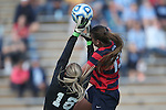 16 November 2013: Liberty's Crystal Elmers (CAN) (13) challenges North Carolina's Anna Sieloff (18) for the ball. The University of North Carolina Tar Heels hosted the Liberty University Flames at Fetzer Field in Chapel Hill, NC in a 2013 NCAA Division I Women's Soccer Tournament First Round match. North Carolina won the game 4-0.