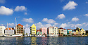 Punda waterfront shops, restaurants, and buildings; Willemstad, Curaçao, Netherlands Antilles..