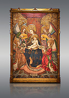 Gothic altarpiece of Madonna and Child and 4 angels, by Pere Garcia de Benavarri, circa 1445-1485, tempera and gold leaf on wood.  National Museum of Catalan Art, Barcelona, Spain, inv no: MNAC  15817.