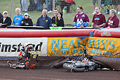 Heat 6: Woffinden crashes out after finishing the race - Lakeside Hammers vs Wolverhampton Wolves - Sky Sports Elite League Speedway at Arena Essex Raceway, Purfleet - 24/05/10 - MANDATORY CREDIT: Gavin Ellis/TGSPHOTO - Self billing applies where appropriate - Tel: 0845 094 6026