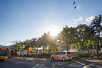 In Utrecht rijden een politiewagen en lijnbussen van Qbuzz op de busbaan bij het stationsgebied.<br /> <br /> A policecar and buses of Qbuzz riding on a bus lane near Utrecht CS.