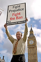 London, England, 15/09/2004..An estimated 20,000 hunt supporters demonstrate in Parliament Square as a new bill to ban hunting with dogs is passed. Some demonstrators fought with riot police, and five hunt supporters managed to get onto the House of Commons floor during the debate.