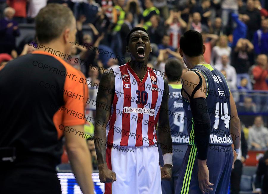 Kosarka Euroleague season 2015-2016<br /> Euroleague <br /> Crvena Zvezda v Real Madrid<br /> Quincy Miller celebrate<br /> Beograd, 27.11.2015.<br /> foto: Srdjan Stevanovic/Starsportphoto &copy;