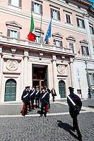 Roma 16 Marzo2013.Montecitorio, secondo giorno della  XVII legislatura..Carabinieri all'ingresso  della Camera dei Deputati .